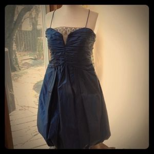 Badgley Mischka midnight blue formal bubble dress